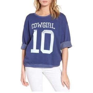 Wildfox Cowgirl Sweatshirt Graphic Tee Blue sz M